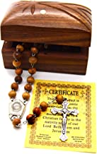 Holy Land Bethlehem Olive Wood Rosary Beads with Holy Water from The Jordan River and Jerusalem Cross Wooden Hand Carved Jewelry Box
