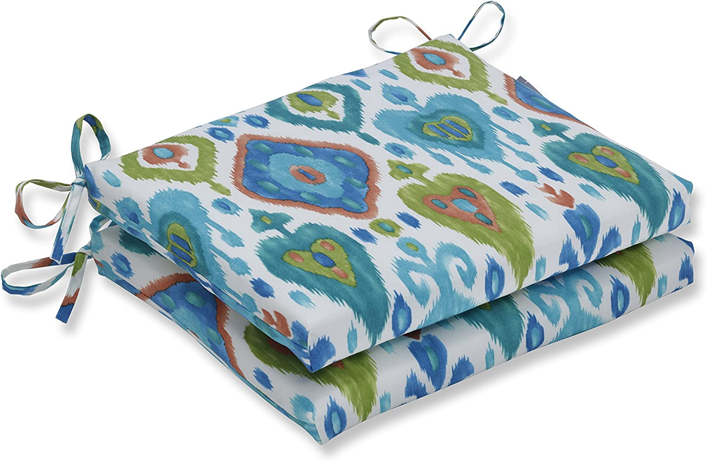 Pillow Perfect Outdoor Cushion, 620183, 100% T-Spun Polyester, bluee, 18.5  x 16  x 3