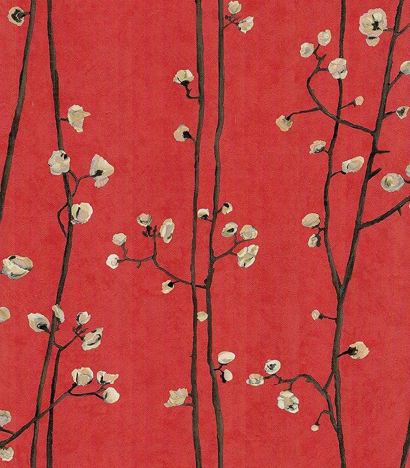 推定する経過インペリアルHaokHome 83009 0.53 m x 10 m花の壁紙の壁画 花柄壁紙のアップリケ防水の焦げ付き防止の赤/ピンク/茶色/黄色のリビングルームの寝室の背景の壁紙家の装飾