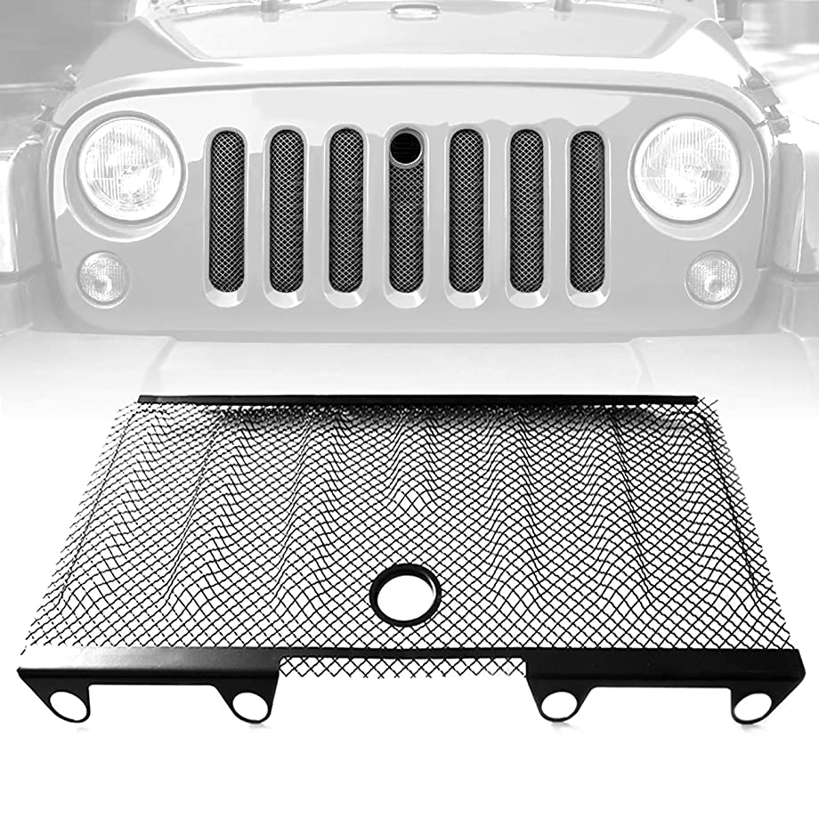 ICARS 3D Front Mesh Grill Inserts Grille Bug Net with Key Hood Lock for 2007-2018 Jeep Wrangler JK JKU Accessories & Unlimited Rubicon Sahara