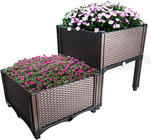 high quality netuera Plant Grow Box Elevated Raised new arrival Garden Bed Kits Fit for Flower Vegetable Grow Brown lowest 2-Piece Set online