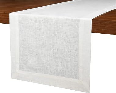 D'Moksha Homes 100% Pure Linen Table Runner - 14 x 48 Inch, Hemmed Dresser Scarf, Handcrafted from European Flax. Machine Was