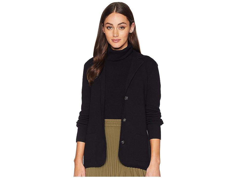 CHAPS Cotton Blend Long Sleeve Sweater (Polo Black) Women