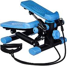Relaxdays Stepper, verstelbare weerstand, met expander, snelheidsmeter en stappenteller (h x b x d): 170 x 31 x 33 cm, zwa...