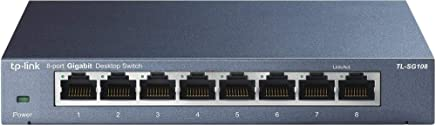 TP-Link 8 Port Gigabit Ethernet Network Switch | Ethernet Splitter | Sturdy Metal w/ Shielded Ports | Plug-and-Play | Traffic Optimization | Unmanaged (TL-SG108)
