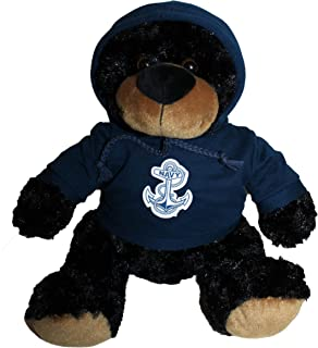 Mascot Factory United States U.S. Navy Teddy Bear with Blue Hoodie Sweatshirt with Navy Logo 9 Inches Tall, Black