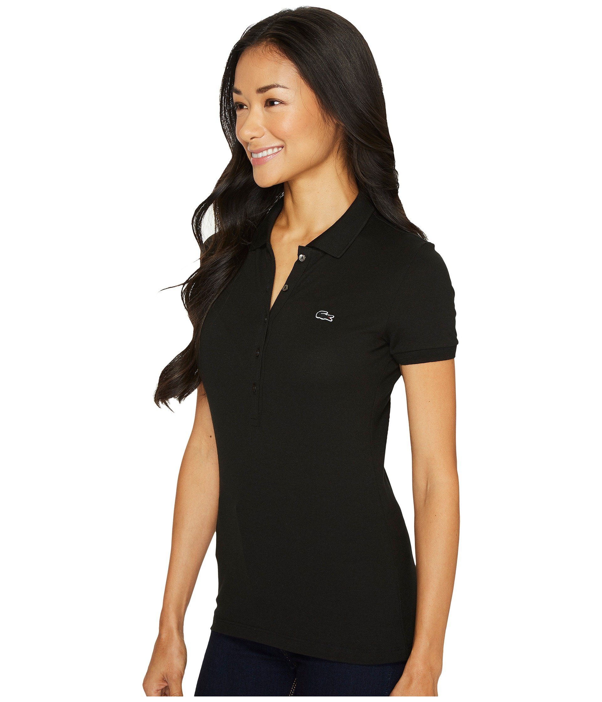 Polo Stretch Shirt Lacoste Fit Short Black Sleeve Pique Slim WwnzYqW