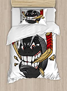 Ambesonne Hockey Duvet Cover Set, Cartoon Hockey Puck Bites and Breaks Hockey Stick Championship Game Mascot Character, Decorative 2 Piece Bedding Set with 1 Pillow Sham, Twin Size, Charcoal Beige