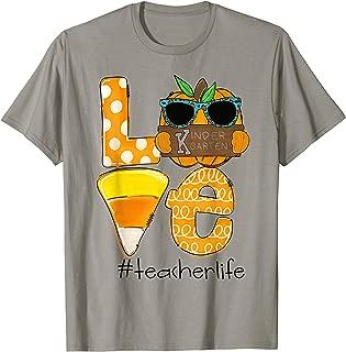Love Kindergarten Teacherlife Pumpkin Candy corn Halloween T-Shirt
