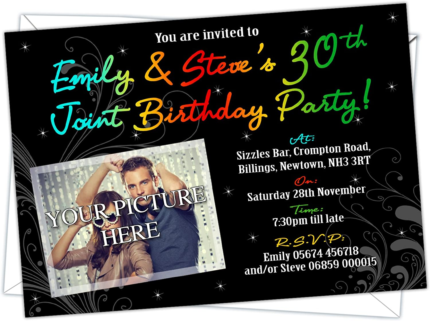 Personalised Birthday Invitations with your own photo, any age can be added (Design Code  BA 031u) (Pack of 200)