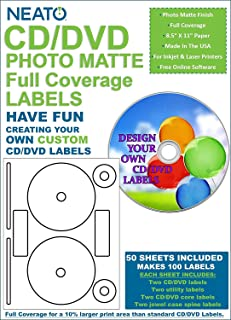 Neato CD/DVD PhotoMatte Full Coverage Labels – 50 Sheets – Makes 100 Labels - Online Design Software Included