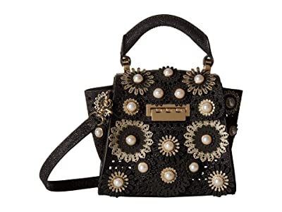 ZAC Zac Posen Eartha Kit Mini Top-Handle (Black Glitter Floral) Handbags