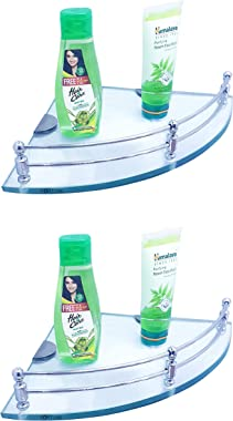 Fortune Glass Corner Shelf/Bathroom Shelf/Kitchen Shelf - Wall Mount Bathroom Accessories for Home Decor (Transparent) (9 x 9