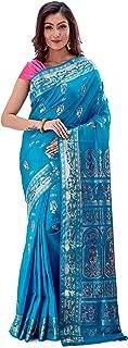 SareesofBengal Women's Katan Silk Meenakari Baluchari/Swarnachari Saree Turquoise Blue