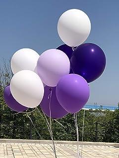 Iygnaw 100 PCS 12 Inch 2.8g Matt Balloon Wedding Decoration Supplies Latex Thicken Balloons(Light Purple,Dark Purple,White)
