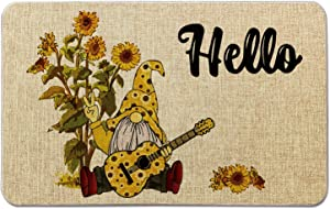 Summer Front Door Welcome Mat -Hello-Sunflower Gnome Burlap Doormat for Office/Home/Classroom/Store Entryway Porch Decor Gifts   27.5X17 inches OCCdesign B067