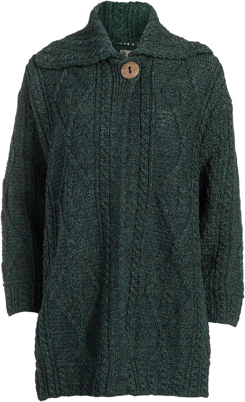 Boyne Valley Knitwear Ladies Single Button Merino Wool Coat Green