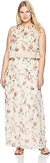 Adrianna Papell Women's Size Plus Bonita Oasis Halter Maxi Dress