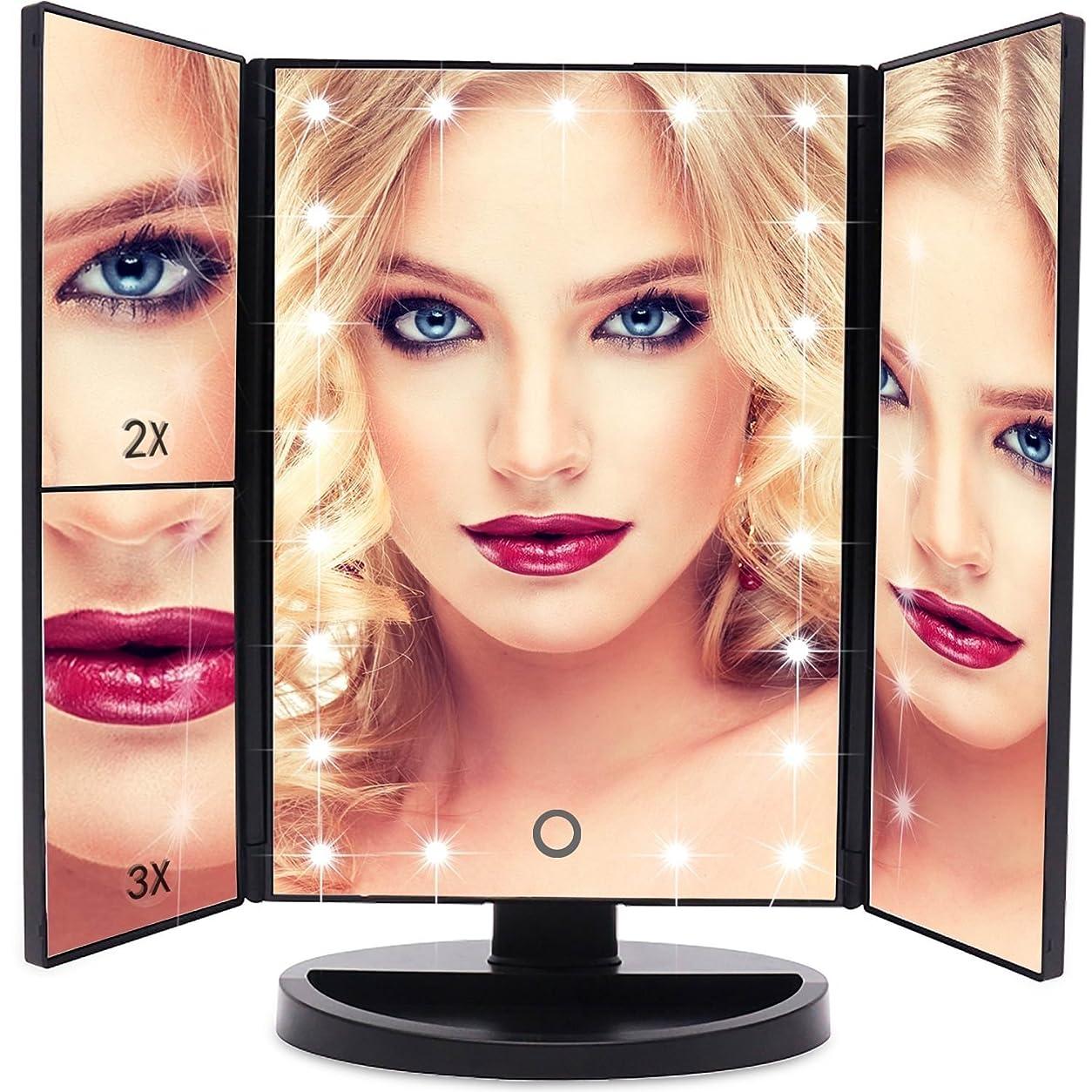 鳴り響く失望させる脈拍EmaxDesign 洗面化粧台 ミラー21 180°自由に回転テーブルを充電倍率つ折りタッチスクリーン付き照明付き化粧鏡を率いカウンター化粧鏡
