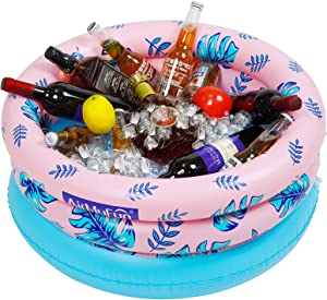 AirMyFun Inflatable Drink Holder Pool, Floating Beverage Pool, Salad Fruit Serving Bar Cooler, Pool Party Accessories for Water Fun, AW-12005
