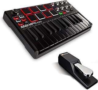 Beat Maker Bundle – 25 Key USB MIDI Keyboard Controller With 8 Drum Pads and Sustain Pedal - Akai Pro MPK Mini MKII LE Black + M-Audio SP-2