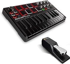 Beat Maker Bundle – 25 Key USB MIDI Keyboard Controller With 8 Drum Pads and Sustain Pedal - Akai Pro MPK Mini MKII LE Black + M-Audio SP-2