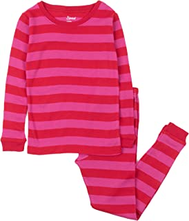 Striped Kids & Toddler Girls Pajamas 2 Piece Pjs Set 100% Cotton Sleepwear (Toddler-14 Years)