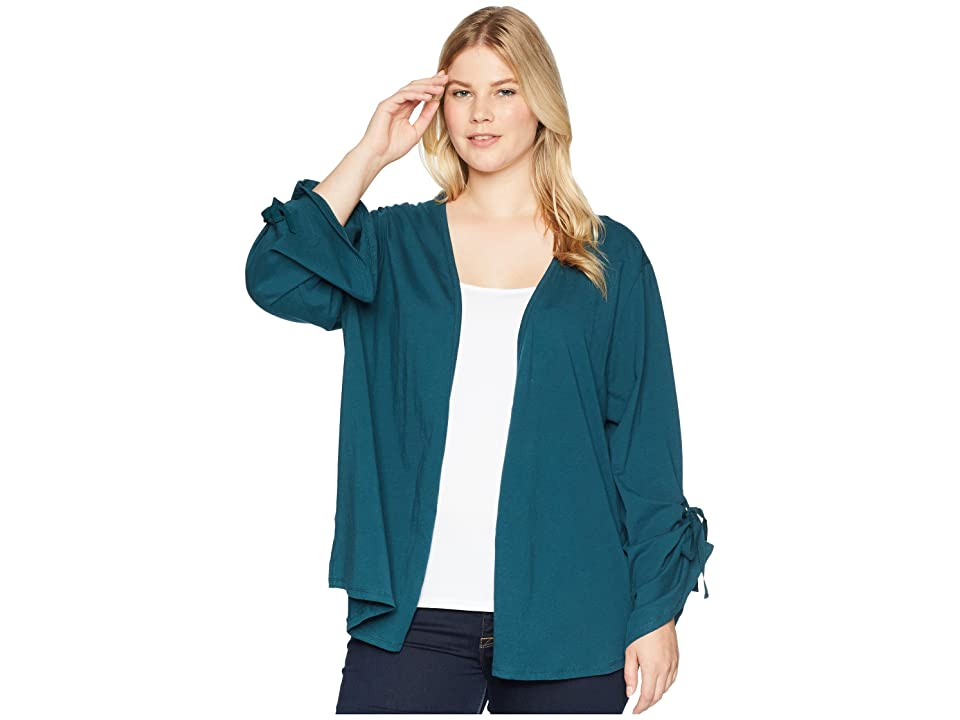 B Collection by Bobeau Plus Size Nia Ruched Sleeve Knit Cardigan (Teal) Women