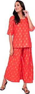 Crazora Women's Rose Pink Rayon Kurta and Palazzo Set