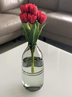 Fourwalls Beautiful Artificial Tulip Flower Bunch For Home Décor (38 Cm Tall, 9 Heads, Red)