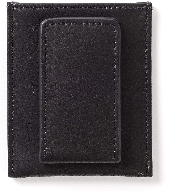 Leatherology Black Oil Men's Slim Money Clip Card Case Wallet