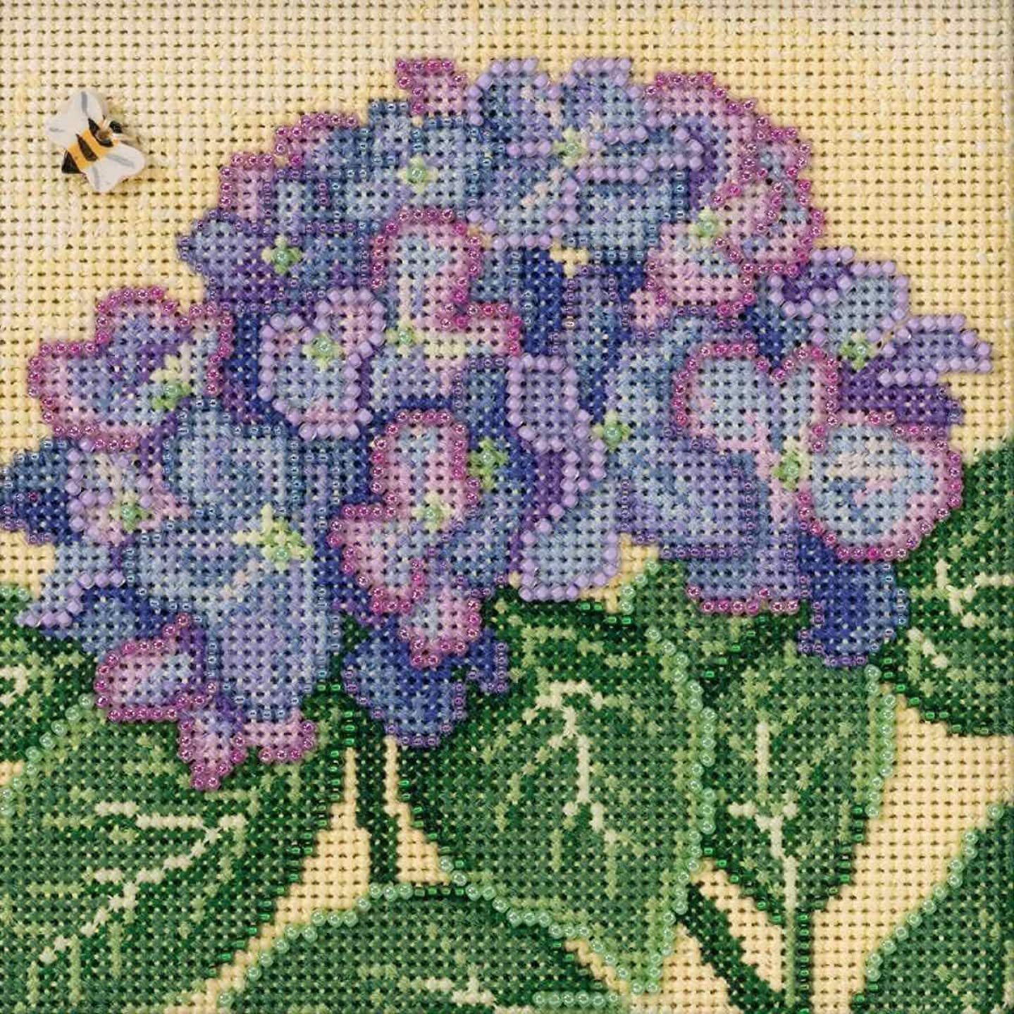 Hydrangea Cross Stitch Kit Mill Hill 2017 Buttons Beads Spring MH141715