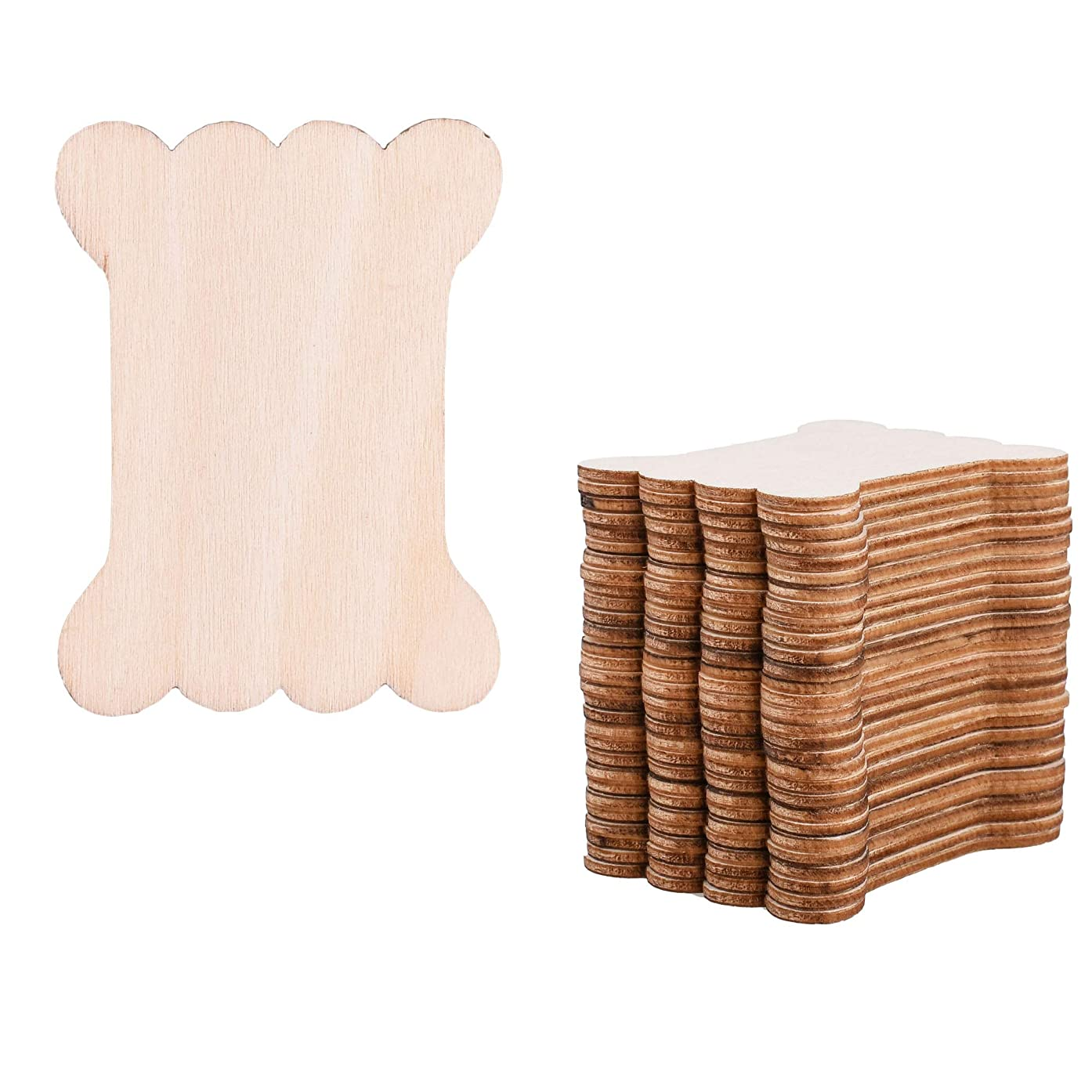 Cosmos 30 Pieces Packed Natural Wood Thread Bobbins Spool Bone Shaped for Craft DIY Project, Cross Stitch Embroidery Floss Sewing Tools