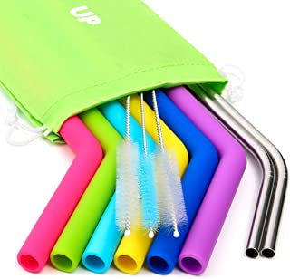 Kitchen Up Big Silicone Straws for 30 oz Tumbler Yeti/Rtic Complete Bundle - Reusable Silicone Straws Set of 6 - Stainless Steel Straws Extra Long - Brushes and Storage Pouch Included