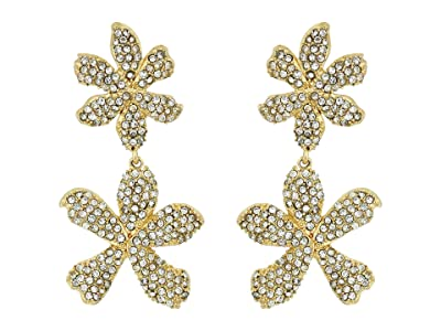 Vince Camuto Double Drop Flower Post Earrings (Gold/Crystal) Earring