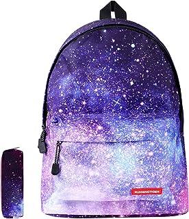 Galaxy School Backpack SKL Unisex School Bag Canvas Rucksack Laptop Book Bag Satchel Hiking Bag for Boys Girls, Galaxy Purple with Pencil Bag (Purple) - SB-01
