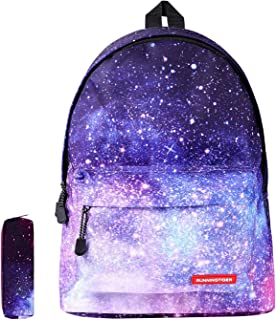 Galaxy School Backpack SKL Unisex School Bag Canvas Rucksack Laptop Book Bag Satchel Hiking Bag for Boys Girls, Galaxy Purple with Pencil Bag (Purple) - SB-01