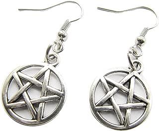 Silver Pentagram Earrings, Pentacle,wiccan Earrings, Wicca, Boho, Protection Earrings, Five Elements, Spirit Earth Air Fire Water