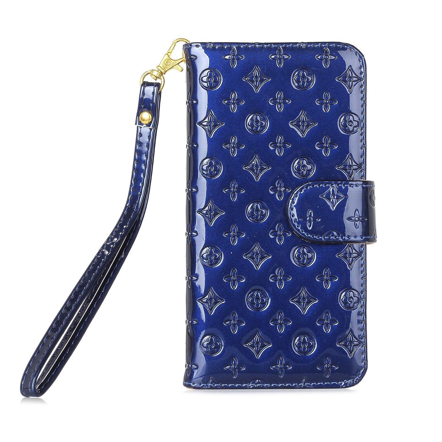【Marxilous】iphone 7/ iphone 8 対応 花柄 ケース 純色 手帳型 横開き レザー 革 カバー マグネット式 カードポケット スタンド機能 アイフォン7 8 用 財布型 カバー ストラップ付き (iphone 7/ iphone 8, ブルー)