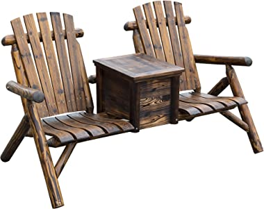 Outsunny Wooden Double Adirondack Chair Loveseat with Inset Ice Bucket, Rustic Aesethic, & Weather-Resistant Materials