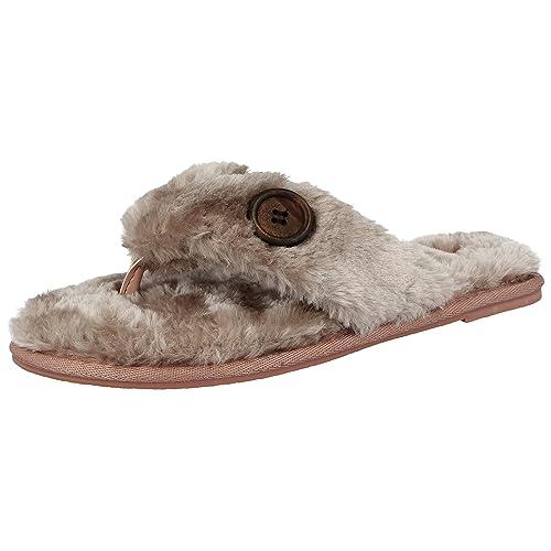 40a244052 Ella Ladies Faux Fur Toe Post Memory Foam Comfort Flip Flops Spa Slippers  Size 3-