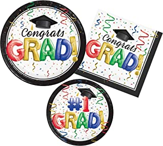 Graduation Party Supply Pack for 8 Guests - Bundle Includes Paper Plates & Napkins - #1 Grad Design