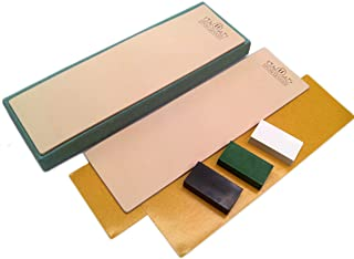 Kit of 2 Leather Honing Strop 3 Inch by 10 Inch with 3 One Oz. Black, Green & White Sharpening Polishing Compounds (One of...