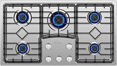 "Empava 36"" Gas Stove Cooktop with 5 Italy Sabaf Sealed Burners NG/LPG Convertible in.."
