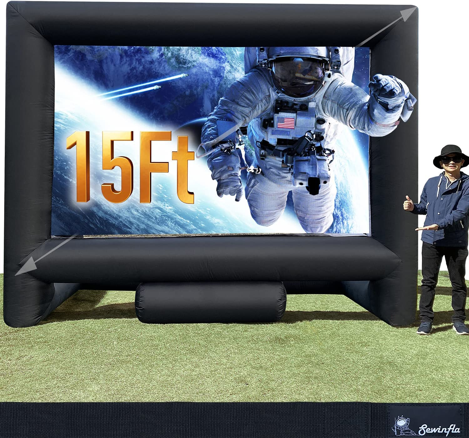 Sewinfla 15Ft Outdoor OFFicial and Indoor Movie Inflatable Scre New products, world's highest quality popular! Projector