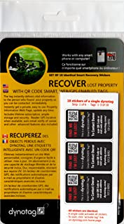 Dynotag Web Enabled Smart Golf/Sport Stickers, with DynoIQ & Lifetime Recovery Service. Set of 18 Identical (BLACK)