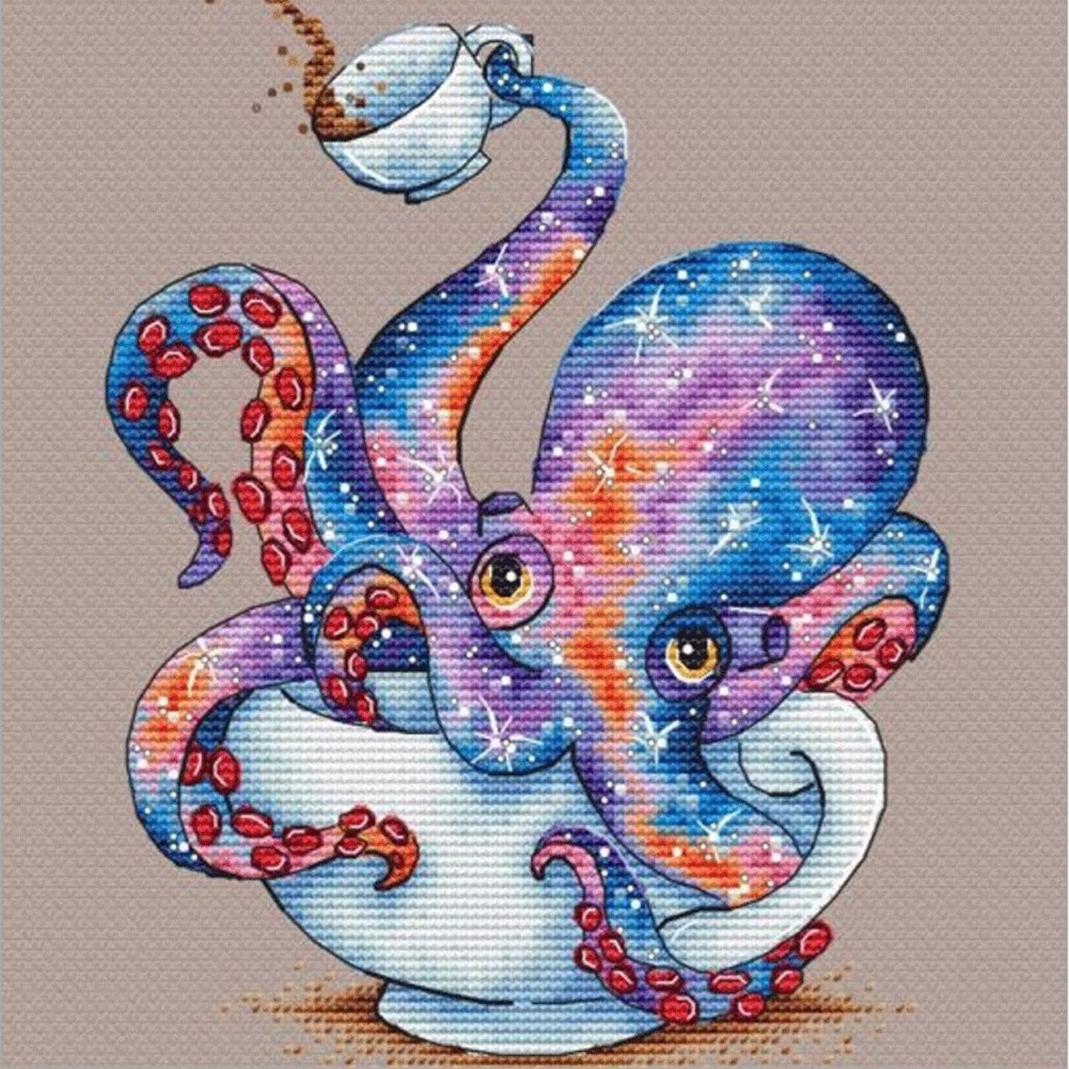 DIY 5D Diamond Painting by Number Kits, Crystal Rhinestone Diamond Embroidery Paintings Pictures Arts Craft for Home Wall Decor, Full Drill Canvas,Octopus in a Cup (LX-162BZY-11.8x11.8in)