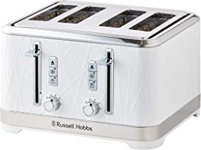 Russell Hobbs RHT334WHI, Structure 4 Slice Toaster, Dual Browning Controls, High-Lift, White