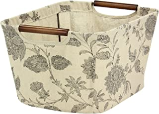 Household Essentials Small Tapered Storage Bin with Wood Handles, Floral Pattern
