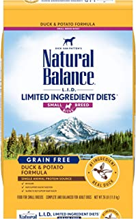 Natural Balance L.I.D. Limited Ingredient Diets Small Breed Bites Dry Dog Food, Duck & Potato Formula, 26 Pounds